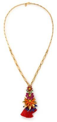 Elizabeth Cole 24-karat Gold-plated, Swarovski Crystal, Stone And Tassel Necklace