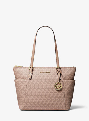 MICHAEL Michael Kors MK Jet Set Logo Top-Zip Tote Bag - Truffle - Michael Kors