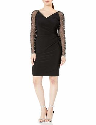 Cachet Women's Long Beaded Sleeve Dress