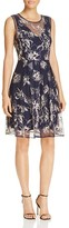 T Tahari Antoinette Embroidered Floral Dress