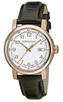 Wenger 01.1021.114 Women's Urban Classic Dial Rose Gold Steel Black Leather Strap Watch