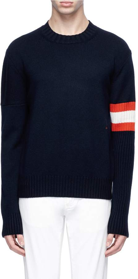 Calvin Klein Stripe sleeve cashmere sweater