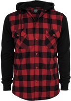 Urban Classics Urban Cassics Men's TB513 Hooded Checked Fanne Sweat Seeve Shirt Bk/Red/B