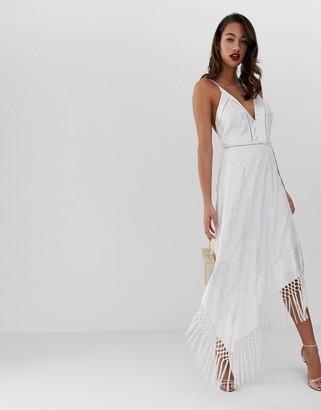 Asos Design DESIGN cami midi dress in embroidered floral and fringe hem-Multi