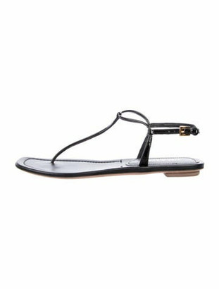 Prada Patent Leather T-Strap Sandals Black