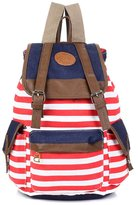 Greeniris Teenage Girls Causal Canvas Drawstring School Bag Stripe Rucksack Backpack for Woen