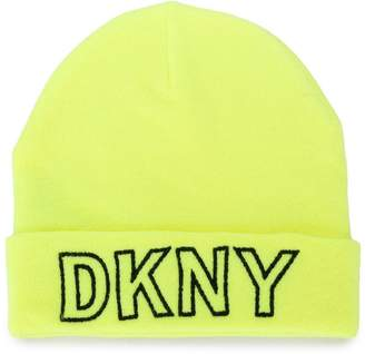 DKNY logo embroidered beanie hat