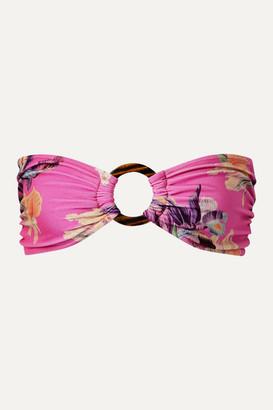 PatBO Grace Embellished Floral-print Bandeau Bikini Top - Fuchsia