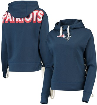 Women's Junk Food Navy New England Patriots Lace-Up Side Pullover Hoodie
