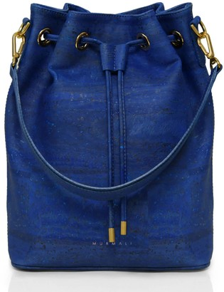 Murmali Gamma Navy Bucket Backpack Vegan Sustainable Bag Handcrafted In Cork Fabric