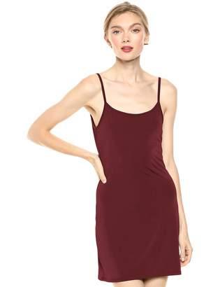 August Sky Women's Sleek and Cool Fitted Spaghetti Strap Basic Slip Dress-Black-M