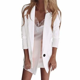Lazzboy Women Blazer Suit Coat Solid Casual Loose Lapel Slim Elegant Workwear Fashion Long Jacket Cardigan Outwear (5XL(20)