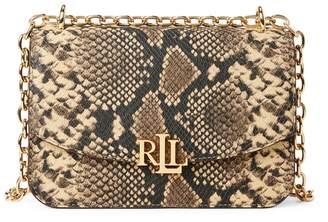 Lauren Ralph Lauren Snakeskin-Motif Leather Shoulder Bag