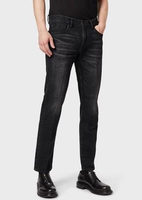 Giorgio Armani Regular Fit Jeans In Selvedge Cotton