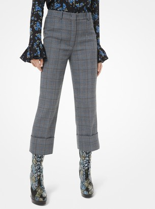 Michael Kors Collection Glen Plaid Wool Cuffed Trousers