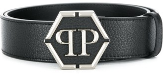 Philipp Plein Logo Plaque Buckled Belt