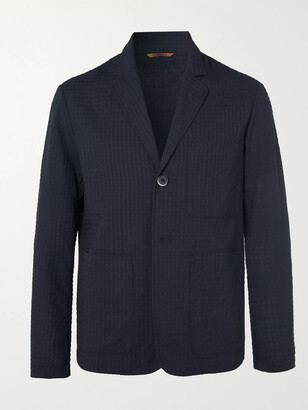 Barena Midnight-Blue Unstructured Virgin Wool-Blend Seersucker Suit Jacket - Men - Blue