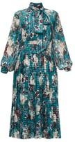 Erdem Helenia Eastbury-print Midi Dress - Womens - Green Print