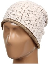 Laundry by Shelli Segal Double Layer Knit Lace Slouchy Beanie (Warm White) - Hats