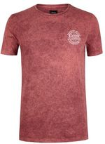 Burton Mens Red Acid Wash Chest Print T-Shirt