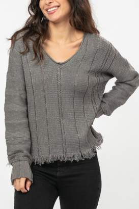 Very J Charcoal Fringe Sweater