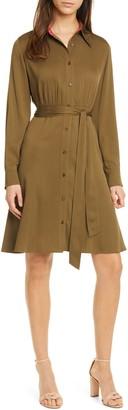 Diane von Furstenberg Dory Long Sleeve Stretch Silk Shirtdress