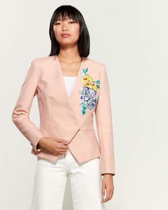 Leonard Beaded V-Neck Silk-Blend Jacket