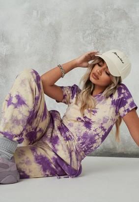 Missguided Purple Tie Dye Crew Neck Bodysuit
