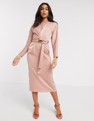 Asos DESIGN midi dress with batwing sleeve and wrap waist in satin in mink
