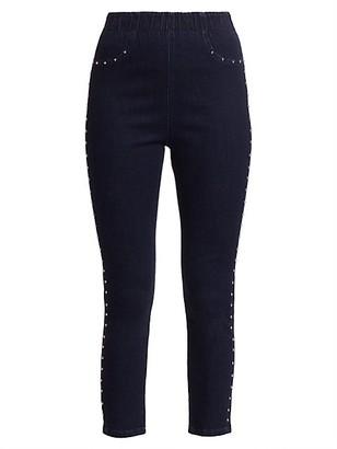 Joan Vass Petite High-Rise Studded Jeans