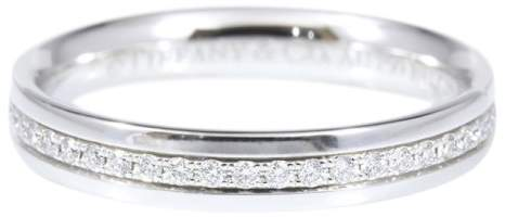 Tiffany & Co. 18K White Gold Diamond Metro Ring Size 4.5