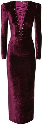 Alessandra Rich Viscose & Silk Velvet Lace-Up Long Dress