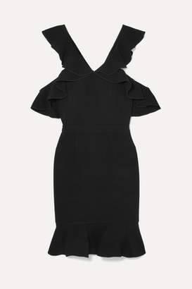 Rachel Zoe Delia Cold-shoulder Ruffled Crepe Mini Dress - Black