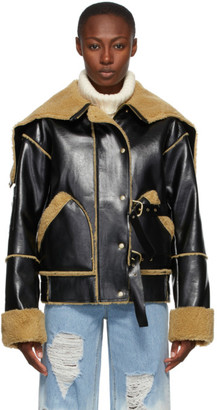 Sjyp Black Faux-Leather Mustang Jacket