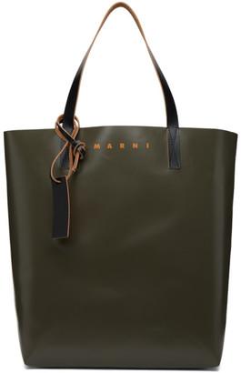 Marni Green and Brown PVC Shopping Tote