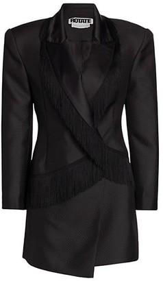 Rotate by Birger Christensen Shannon Fringe Trim Blazer Dress