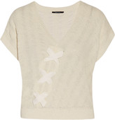 Raoul Lace-up textured cotton-blend sweater