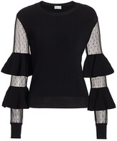 RED Valentino Point D'Spirit Polka Dot Mesh Bell-Sleeve Sweater