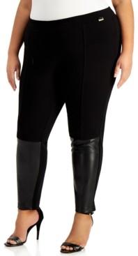 Calvin Klein Size Faux-Leather-Panel Leggings