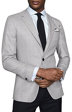 Reiss Men's Cotton-Blend Checked Slim Fit Blazer
