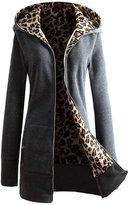 Women Coat Changeshopping 1PC Plus Velvet Thickened Hooded Sweater Leopard Zipper (M, )