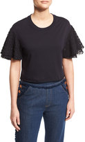 See by Chloe Boxy Cropped Jersey Tee with Embellished Sleeves, Dark Night