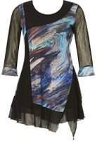 Dorothy Perkins Womens *Izabel London Multi Black Printed Tunic- Black