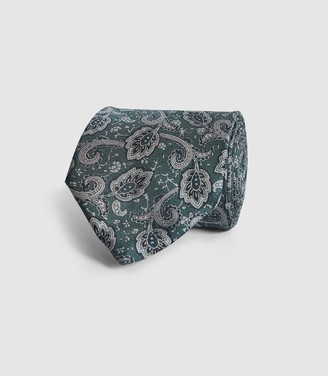 Reiss Joe - Silk Paisley Tie in Dark Green