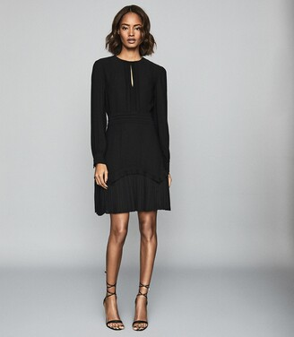 Reiss Roxy - Long Sleeved Mini Dress in Black