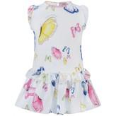 MonnaLisa MonnalisaBaby Girls White Butterfly Print Dress