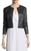 The Row Stanta Leather Cropped Zip Jacket, Pewter