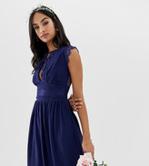 TFNC lace detail mini bridesmaid dress in navy