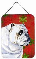 Caroline's Treasures LH9319DS1216 Bulldog English Red Snowflakes Holiday Christmas Wall or Door Hanging Prints