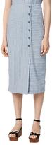 Warehouse Stripe Linen Blend Skirt, Blue